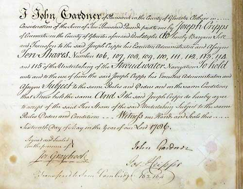 Sale of shares by John Gardner to Joseph Cripps, 16th May 1786